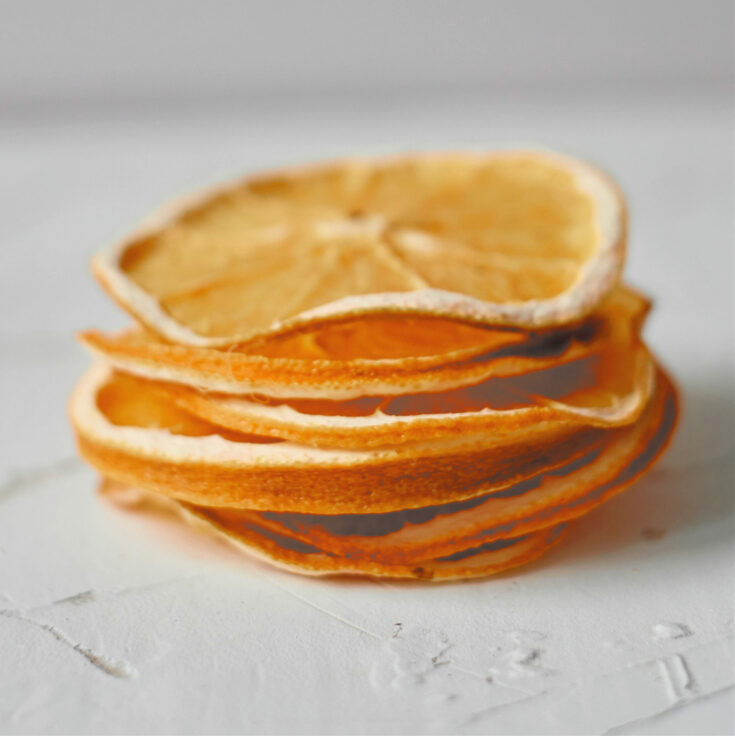 stack of dehydrated orange slices